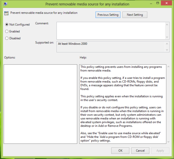 Prevent removable media source for any installation
