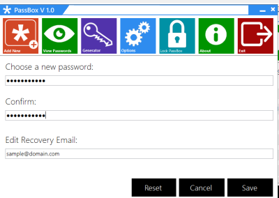 options 400x284 PassBox : Free Password Manager & Generator for Windows 8 | 7