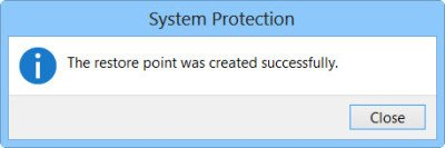 Create System Restore Point in Windows 7