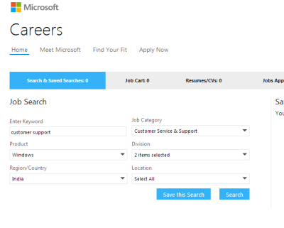 Fig 4 - Using Advanced Searh To Get Job In Microsoft