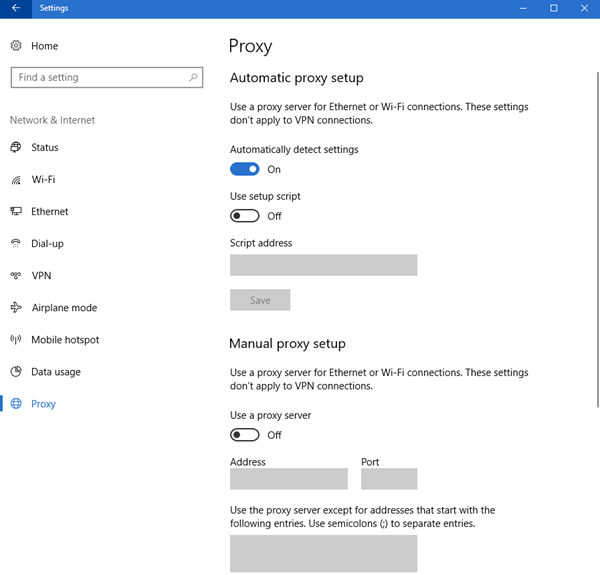 Configure Proxy Server Settings in Windows