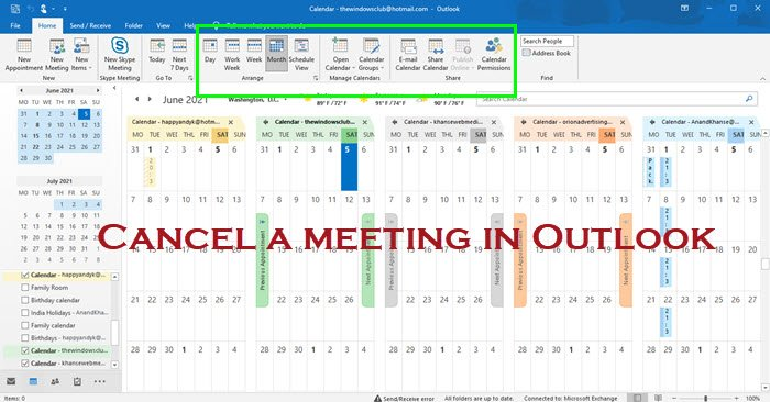 Cancel a meeting in Outlook