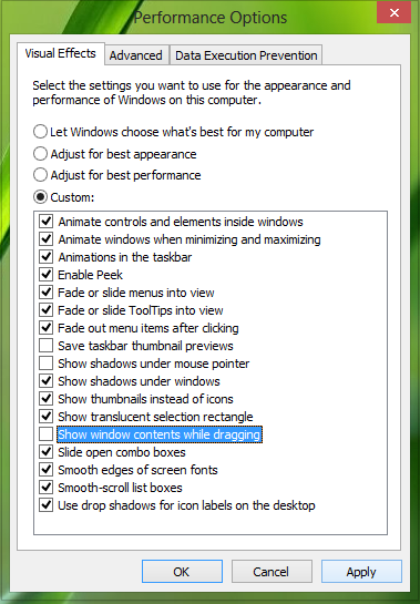 Show window contents while dragging