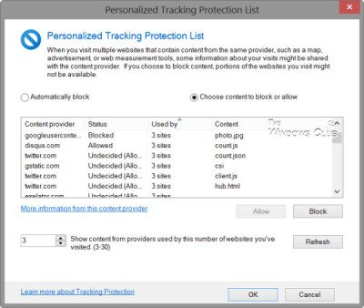 Personalized Tracking Protection List