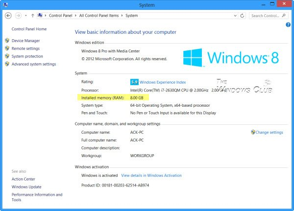 Find out Computer RAM, Graphics Card/Video memory of Windows PC