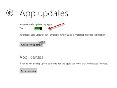 turn off automatic app updates windows 8.1