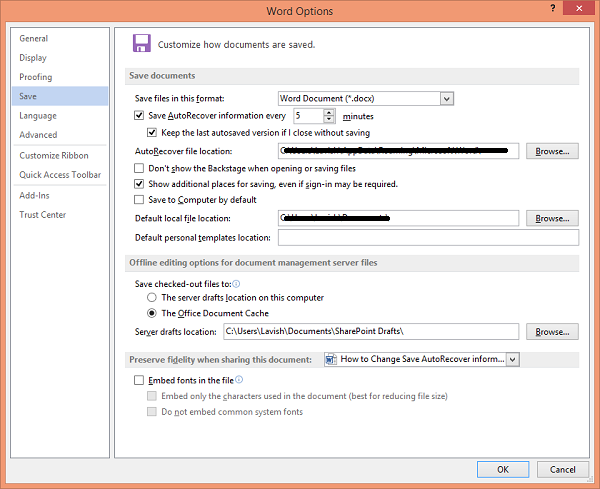 Change AutoRecover time in Word