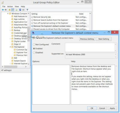 enable or disable right-click context menus in windows explorer