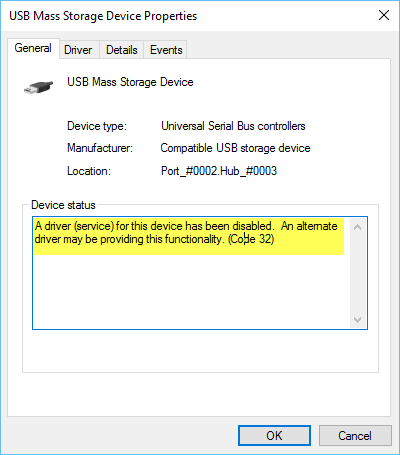 A driver (service) for this device has been disabled (Code 32)