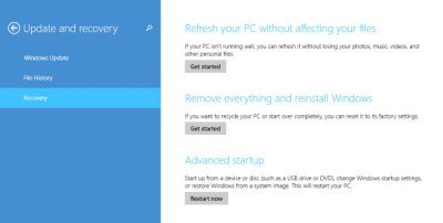 recovery options windows 8.1