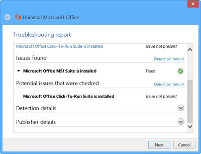 uninstall office 2031 fix it