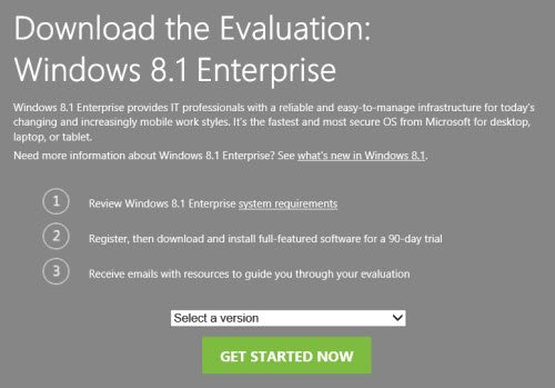 Windows 8.1 Enterprise Evaluation