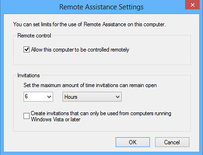 remote assistance settings