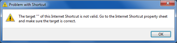 internet shortcut is not valid