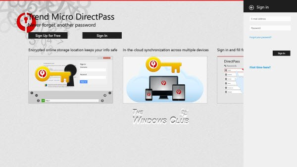 Trend Micro DirectPass Password Manager windows 8