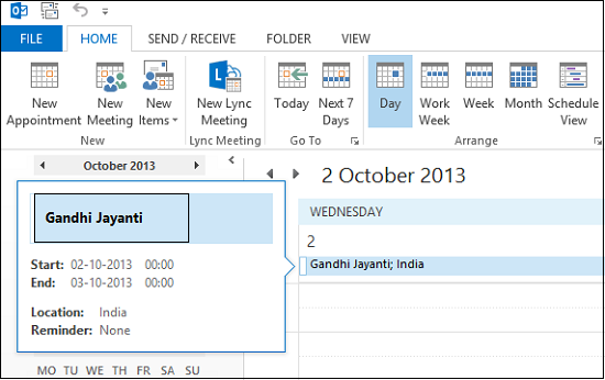 Add Holidays to Outlook Calendar 2013