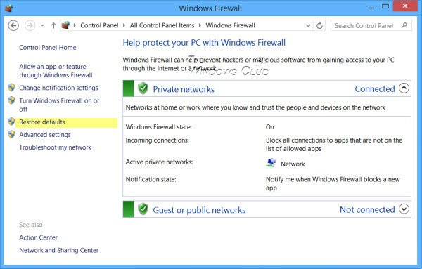 How To Restore Or Reset Windows Firewall Settings To Defaults