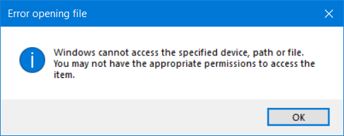 Windows cannot access the specified device, path or file