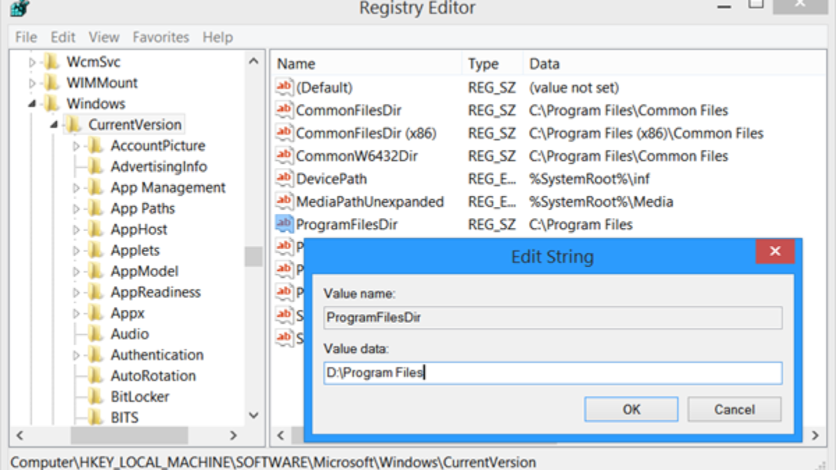 Change default Program Files directory in Windows 10