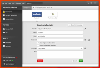 Dashlane Credentials