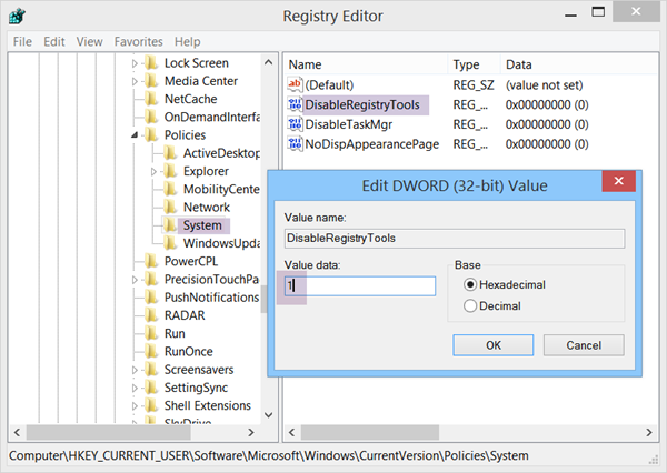 Prevent access to Registry Editing Tools