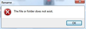 The File or Folder does not exist