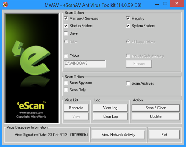 eScanAV Anti-Virus Toolkit MWAV