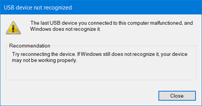 last USB device you connected to this computer malfunctioned