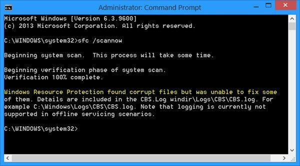 Windows Resource Protection found corrupt files