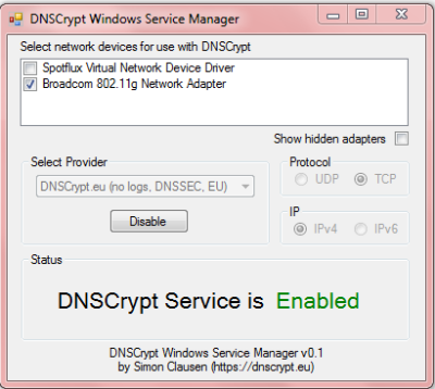DNS-Crypt Service Manager