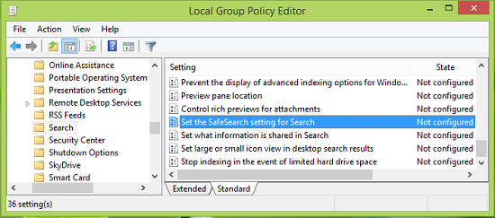 SafeSearch setting in Windows 8.1