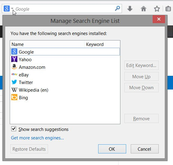 set default search engine firefox