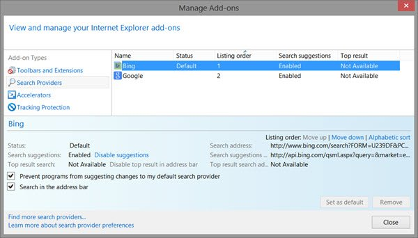 set default search engine ie