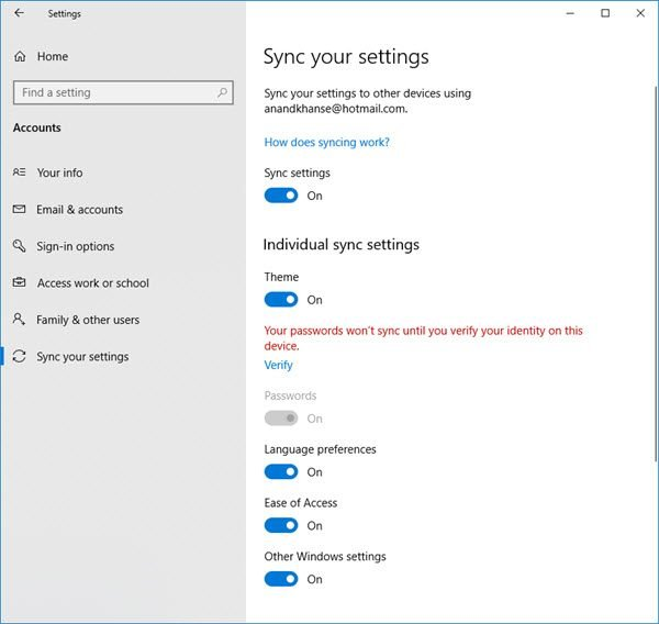 Sync Setting in Windows