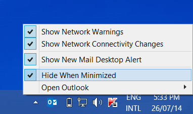 Minimize Outlook to System Tray