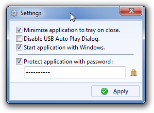 Protect USB drives using a password managed tool