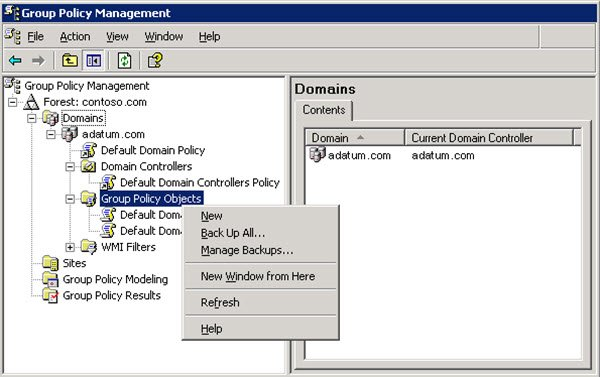 backup Group Policy Objects