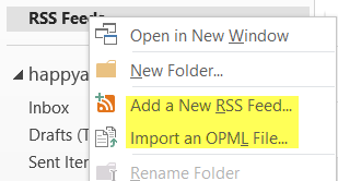 import rss feeds in outlook