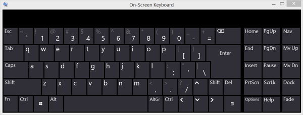 The Windows operating arrangement includes an  Windows Onscreen Keyboard: Options together with Settings