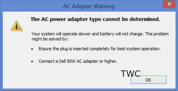 The AC power adapter type cannot be determined