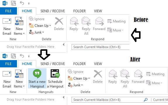 Google Hangouts plugin for Microsoft Outlook