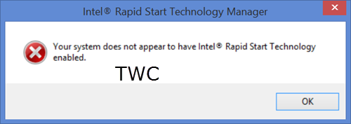 Your system does not appear to have Intel Rapid Start Technology enabled