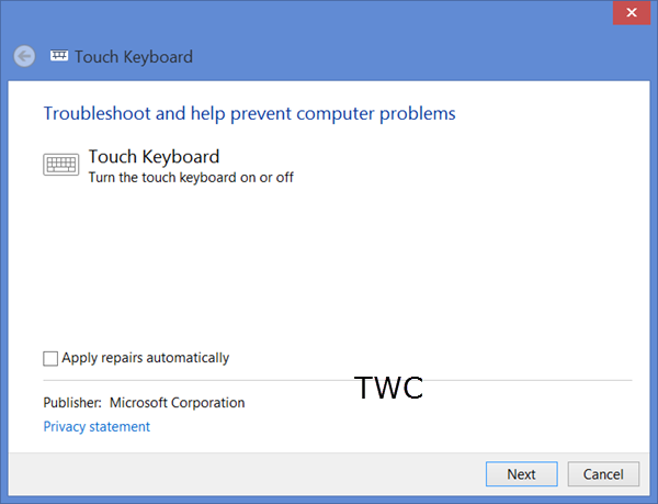 Touch Keyboard in Windows 8 is not working properly