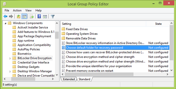 Change default location for saving BitLocker Recovery Key