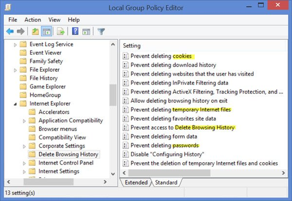 Prevent Users from deleting Browsing History