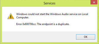 Windows could not start the Windows Audio service