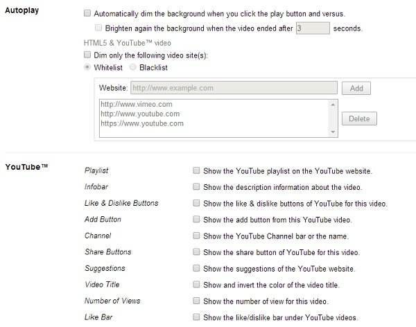 turn off the lights youtube and autoplay