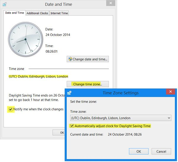 Automatically adjust clock for DST