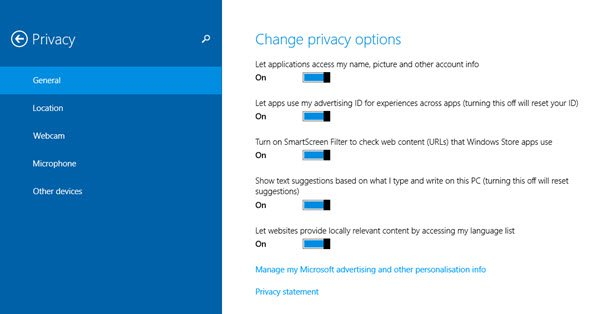 Privacy Options in Windows 8.1