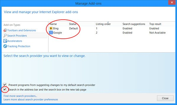 remove Bing Search Bar IE New tab page